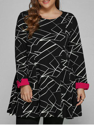 Best Long Sleeve Geometric Plus Size Dress BLACK 4XL