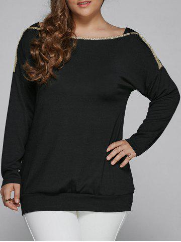 Online Plus Size Top Long Sleeve Blouse BLACK 4XL