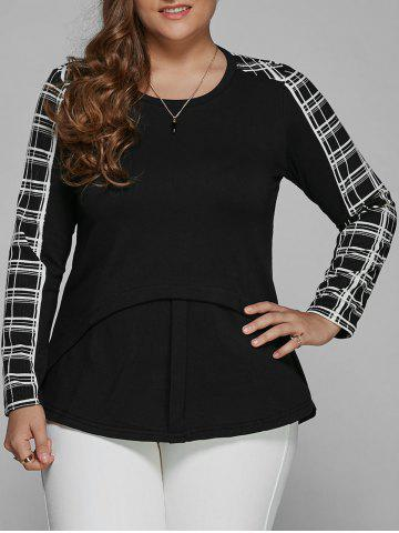 Plus Size Long Sleeve Checked Asymmetric Blouse - BLACK 4XL