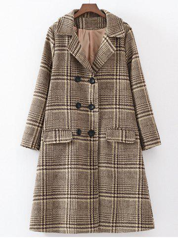 Fashion Double-Breasted Plaid Woolen Overcoat
