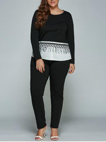 Unique Plus Size Long Sleeve Fringed T-Shirt + Pants