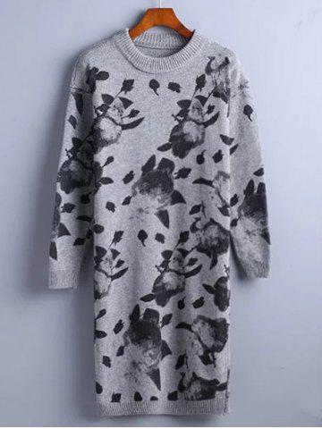 Outfit Chinese Painting Pattern Sweater Dress GRAY ONE SIZE