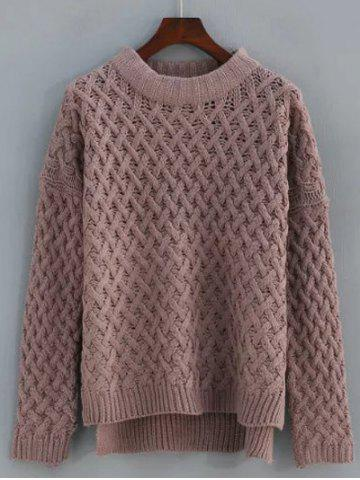 Cable Knit High Low Sweater - Dark Auburn - One Size