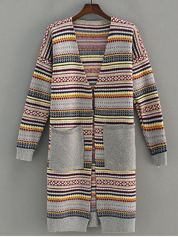 Store Pocket Design Stripe Jacquard Cardigan GRAY ONE SIZE