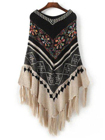 Discount Jacquard Fringe Cape Sweater