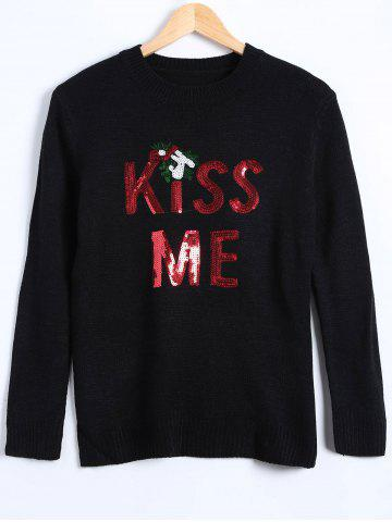 Buy Christmas Kiss Me Sequin Pullover Sweater
