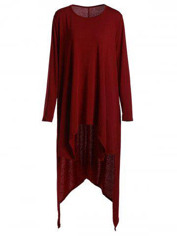 Unique Casual Scoop Neck Loose-Fitting Long Sleeve Asymmetrical T-Shirt For Women - S WINE RED Mobile