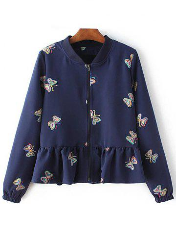 Fashion Butterfly Embroidered Peplum Coat