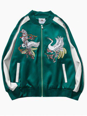 Fancy Birds Embroidered Raglan Sleeve Souvenir Jackets