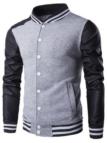 Discount Faux Leather Insert Varsity Striped Button Up Jacket