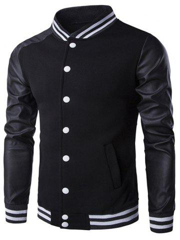 Outfit Faux Leather Insert Varsity Striped Button Up Jacket