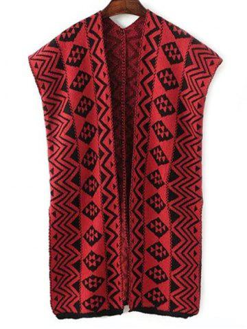 Store Vintage Zigzag Stripe Sleeveless Cardigan Sweater Vest RED ONE SIZE
