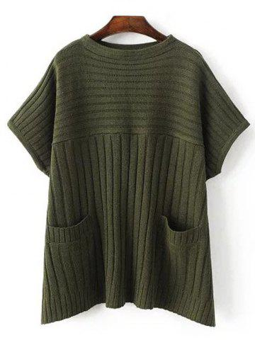 Sale Crew Neck Ribbed Batwing Sweater With Pocket