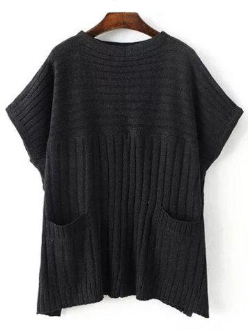 Latest Crew Neck Ribbed Batwing Sweater With Pocket BLACK ONE SIZE