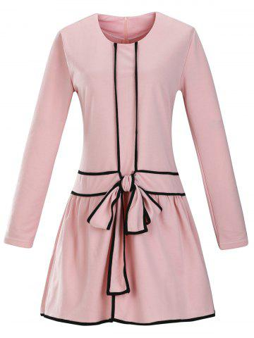 Fashion Retro Bow Tie Dropped Waisted Dress PINK 2XL