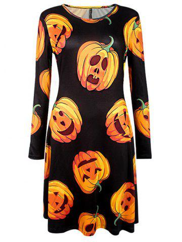 Outfit Halloween Pumpkin Printed Dress