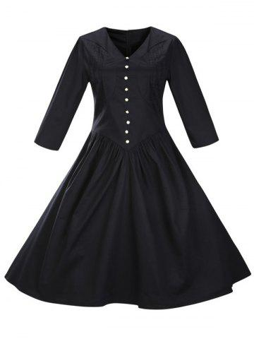 Hot Retro Front Button Flare Tea Length Party Dress BLACK 3XL