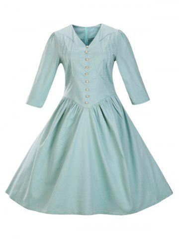 Retro Front Button Flare Tea Length Swing Party Dress