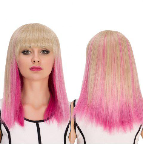 Online Synthetic Cosplay Medium Full Bang Straight Gradient Color Wig COLORMIX