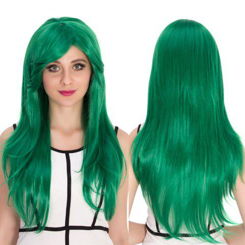 Sale Long Side Bang Natural Straight Cosplay Synthetic Wig - GREEN  Mobile