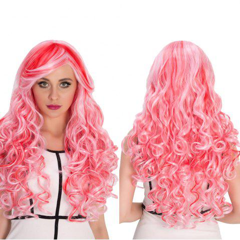 Buy Red Mixed Pink Inclined Bang Shaggy Wavy Cosplay Synthetic Wig COLORMIX