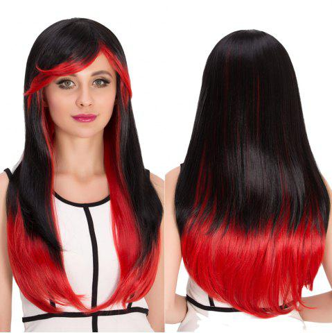 Store Long Full Bang Double Color Tail Adduction Cosplay Synthetic Wig RED/BLACK