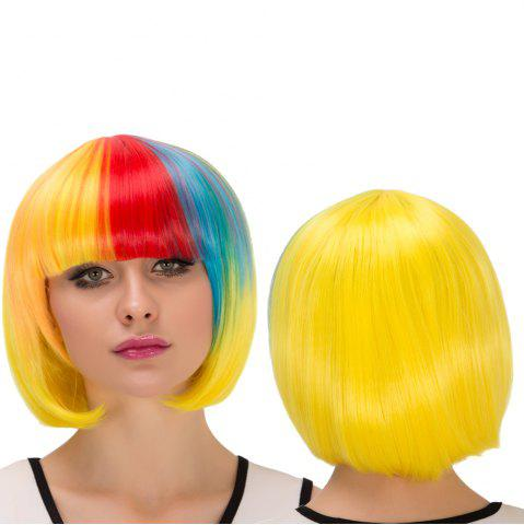 Cheap Cosplay Synthetic Colored Short Full Bang Bob Haircut Wig COLORMIX