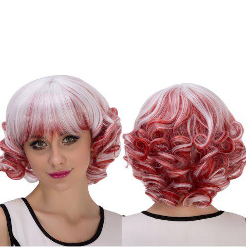 Buy Double Color Short Full Bang Curly Cosplay Synthetic Wig