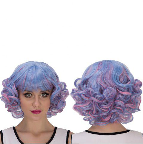 New Blue Mixed Pink Short Full Bang Curly Cosplay Synthetic Wig
