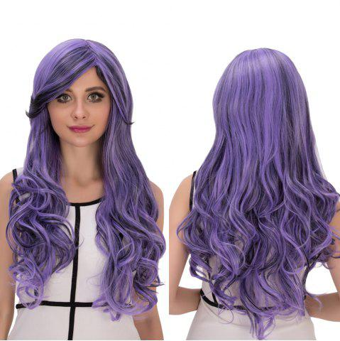 Discount Purple Gradient Long Oblique Bang Wavy Cosplay Synthetic Wig