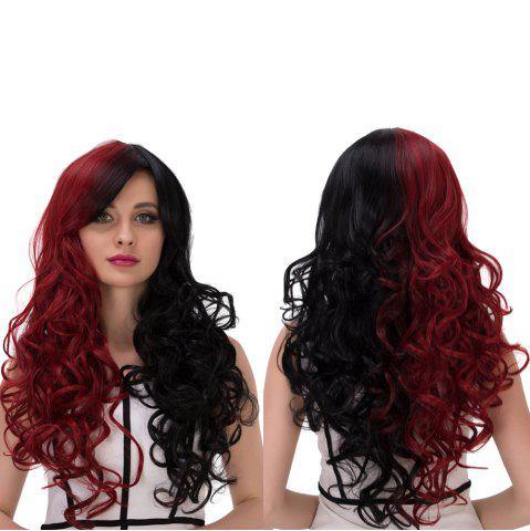Outfit Long Fluffy Side Bang Wavy Double Color Cosplay Synthetic Wig RED/BLACK