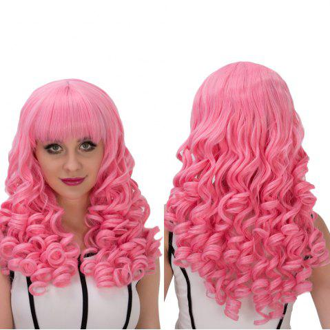 Best Towheaded Long Full Bang Curly Cosplay Synthetic Wig PINK