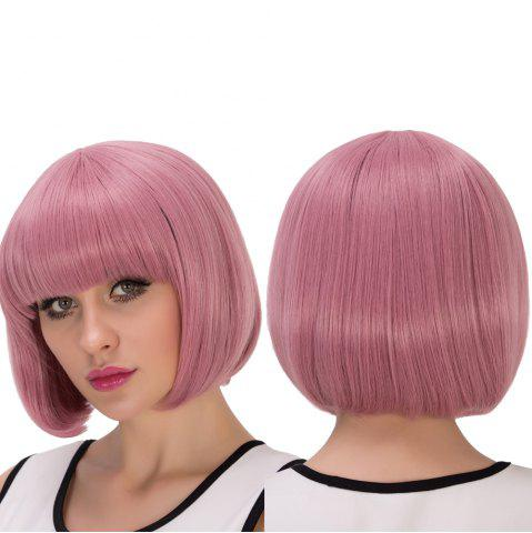 Latest Fascinating Synthetic Cosplay Short Full Bang Bob Haircut Wig LIGHT PINK