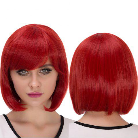 Best Synthetic Cosplay Stunning Short Side Bang Bob Haircut Wig RED