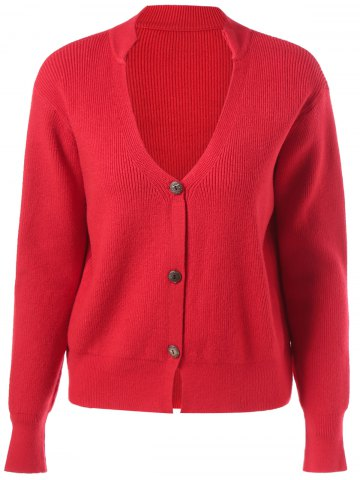 Cheap Ribbed Button Design Cardigan