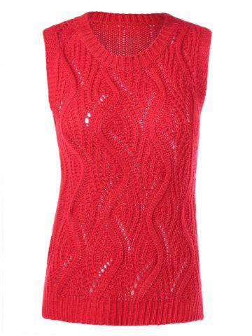 Affordable Sleeveless Openwork Ribbed Knitwear