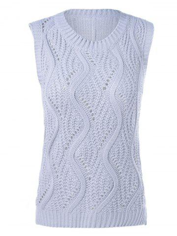 Fashion Sleeveless Openwork Ribbed Knitwear