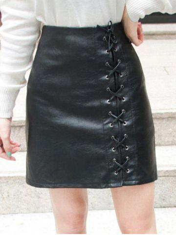 High Waist Lace-Up Faux Leather Skirt - Black - M