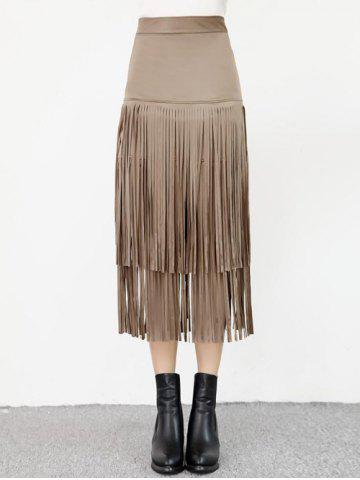 Affordable High Waist Fringed Suede Skirt