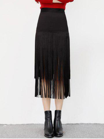 Store High Waist Fringed Suede Skirt