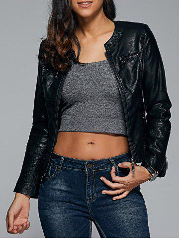 Fancy Topstitched Faux Leather Biker Jacket