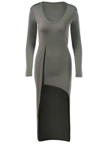 Latest V-Neck Asymmetrical Long Sleeve High Low Slimming Dress ARMY GREEN XL