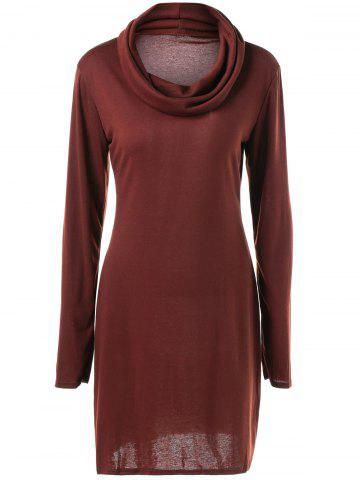 Outfit Long Sleeve Plain Slimming Dress DEEP RED XL