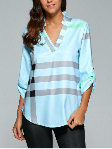 V Neck Color Block Tunic Blouse - Light Blue - L