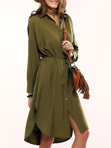 Unique Military Longline Shirt Dress