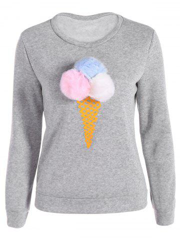 Outfits Pompon Ice-Cream Print Pullover Sweatshirt