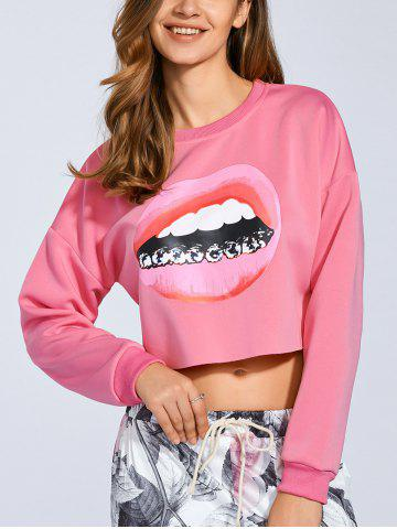 Trendy Cropped 3D Lip Print Sweatshirt SHALLOW PINK M