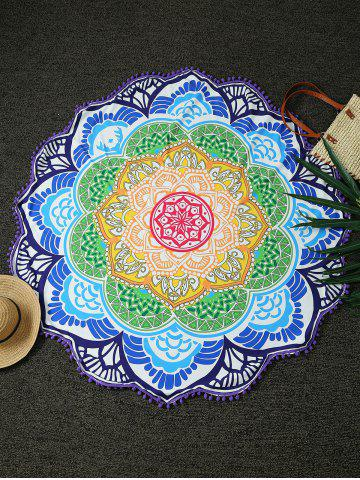 Buy Round Lotus Print Tasseled Beach Throw
