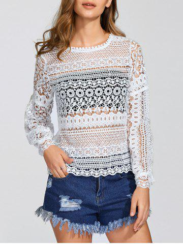 Affordable Puff Sleeves Openwork Lace Cover-Up