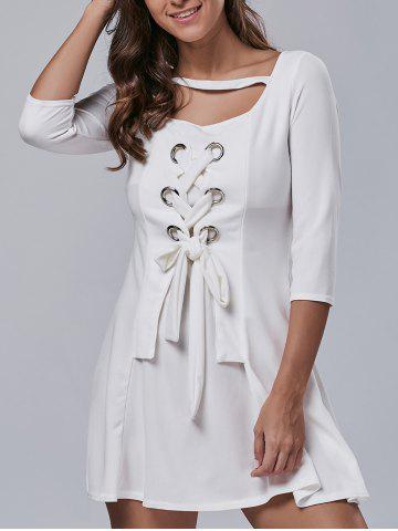 Outfits 3/4 Sleeve Lace-Up Metal Embellished Dress
